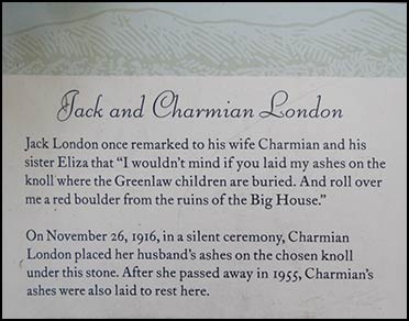 Jack and Chamian London grave plaque; Authors Road