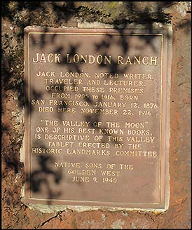 Jack London Ranch Plaque from Native Sons of the Golden West